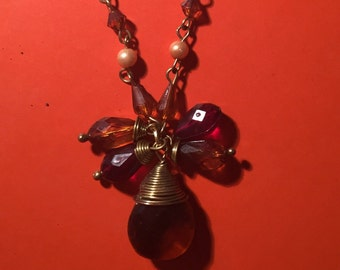 Red and orange beaded chain gold necklace