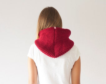 Sales Knit hooded cowl in red neckwarmer cowl scarf collar neck warmer knit hoodie cowl with hood