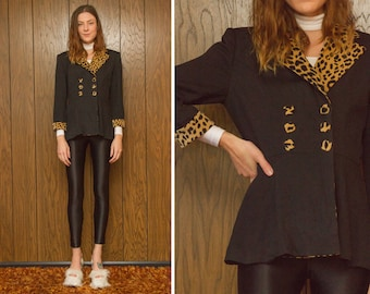 Vintage RARE 80s 90s N.I.C. Leopard Cheetah Double Breasted Collared Cuffed Fabric Button Black Gold Pin Up Animal Print Blazer Jacket S M 4