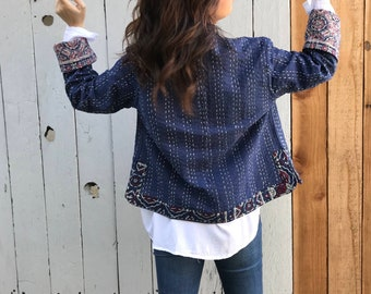 Indigo kantha short reversible jacket