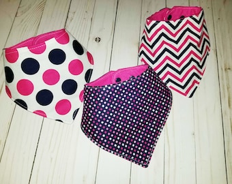 Bandana Drool Bibs, Navy/Hot Pink