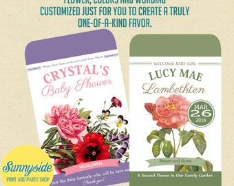Baby Shower Printable Seed Packet Favor  - ANY COLOR / FLOWER - Seeds Baby Shower Favor