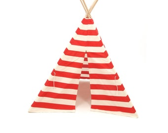 SALE!! Poles Included Teepee Play Tent American Red and Natural White Stripe 4 panel