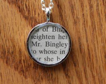 Mr. Bingley - Pride and Prejudice Book Page Pendant Necklace - Jane Austen