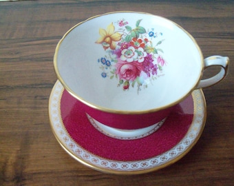 Vintage English bone china mix and match cup & saucer. Hammersley and Wedgewood (#EV254)