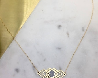 Geometric Laser cut Diamond Bar Necklace Minimal Necklace Delicate Jewelry