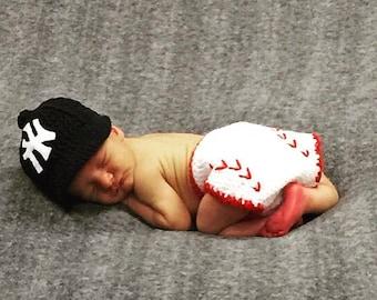 CROCHET PATTERN - Baby Baseball Cap - Diaper Cover - Newborn Baseball Hat - Baby Photo Prop - Gift - Casher Baseball Set - Ava Girl Patterns