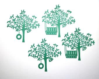 4 Trees Die Cuts/Tree Swing/Tire Swing Tree/Paper Cuts/Scrapbooking/Card Making/Embellishments/Tree/Swing/Tire Swing