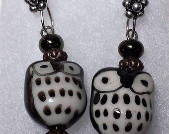 Brown Owl Dangle Earrings