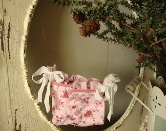 wall Pocket ornament floral container wall hanging office decor pink flowers Chic Cottage shabby floral fabric embellished pocket