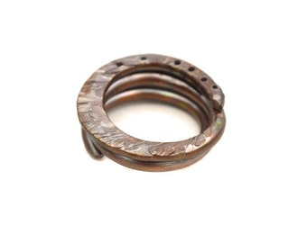 Hand Forged Metal Celestial Copper Ring Artisan Size 8 Womens Mens