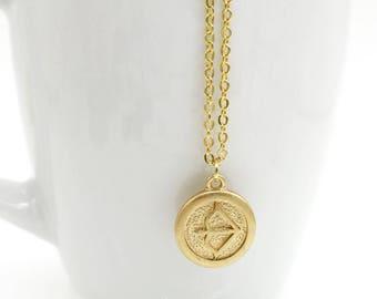 Saggitarius Necklace, Saggitarius Zodiac, Brass Astrological Charm w Gold Plated Chain, Saggitarius Pendant, Horoscope Zodiac Jewelry