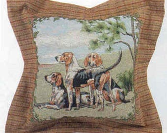 Decorative Pillow FOXHOUNDS Foxhunt Tapestry X-LARGE Pillow made in USA