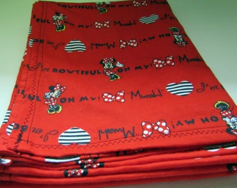 Red Minnie Mouse Blanket, Baby, Receiving Blanket, 100 percent Cotton, 32x40, Disney, Lightweight,Blanket,Infant, Bed Sheet, Throw, Swaddle
