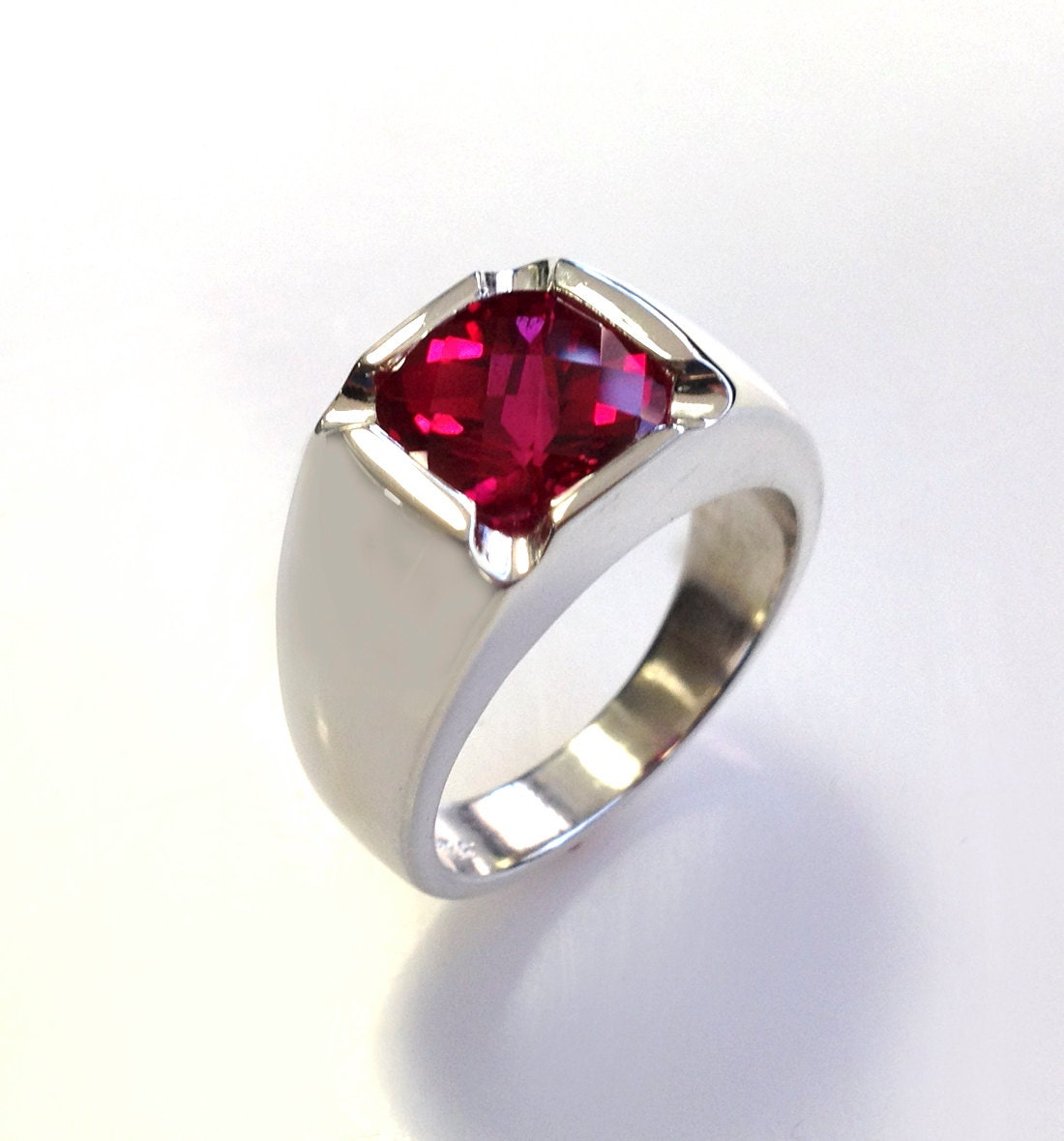 Super Mens Stunning Antique Cushion Checkerboard Cut Ruby Ring in HC93