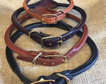 Personalized Rolled Leather Dog Collar with Brass Nameplate