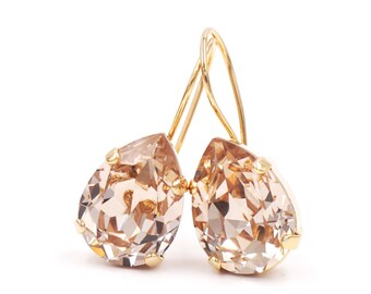 Ourania - Simple Swarovski Crystal Teardrop Earrings - Light Silk Crystal Earrings, Gold plated, brides bridesmaid bridal simple earrings