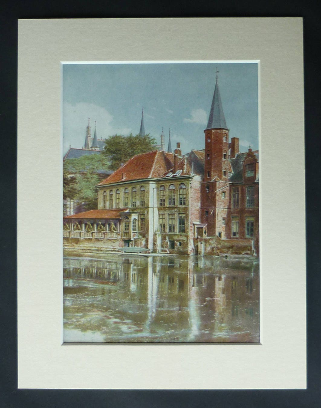 1920er Jahre antike Rozenhoedkaai Druck Brügge-Wand-Kunst