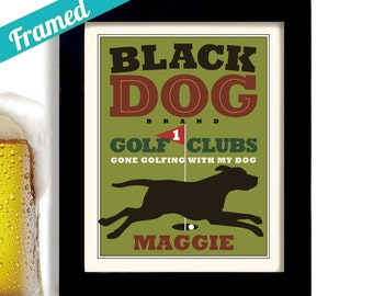 Black Lab Golf Art Black Dog Mens Gift Personalized Golfer Gift Golf and Dogs Black Labrador Retriever Golf Course Golf Clubs Gift for Dad