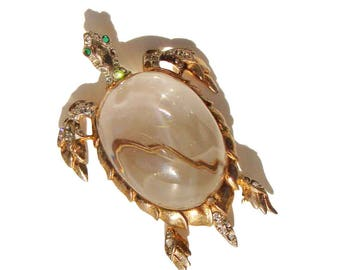 Vintage Trifari Jelly Belly Turtle Brooch Sterling Tortoise Pin – Alfred Philippe BOOK PIECE