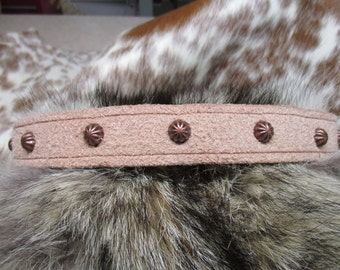Leather Hatband, Natural Leather, Roughout Leather Hatband with Antique Copper Umbrella Spots and Adjustable Lace Tie