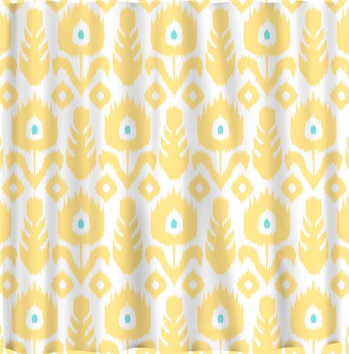 yellow and teal shower curtain.  Zoom Custom IKAT Chevron Shower Curtain Any Color Shown