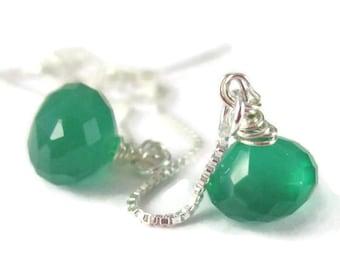 Green Threader Earrings Sterling Silver Gemstone Earrings Long Ear Threads Wire Wrapped Green Onyx
