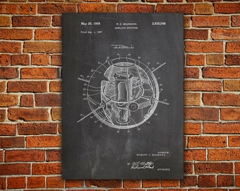 Earth Satellite Canvas painting, Satellite Poster, Space Wall Print, Outer Space Poster, Outer Space Nursery, Satellite Print, Patent  gifts