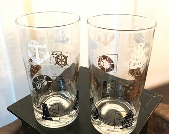 Vintage Nautical Themed Drinking Glasses with White, Gold and Black Symbols Set of 2