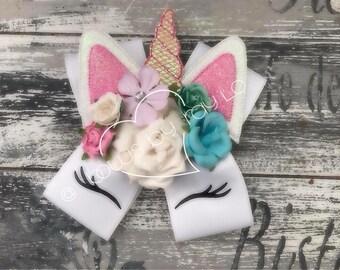 Unicorn bow, unicorn hair bow, birthday bow, spring hair bow, summer hair bow