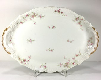 Antique Theodore Haviland Limoges Oval Serving Platter, White with Tiny Pink Flowers, Scalloped, Embossed Rim, Brushed Gold Handles