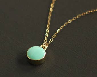 Blue Drop Necklace - 14K Gold Filled Chain