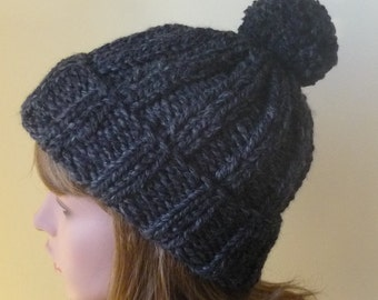 Chunky Knit Hat with Pompom and Rolled Brim  Winter Hat in Charcoal Mens Winter Hat Woman Winter Hat - Ready to Ship - Gift for Her