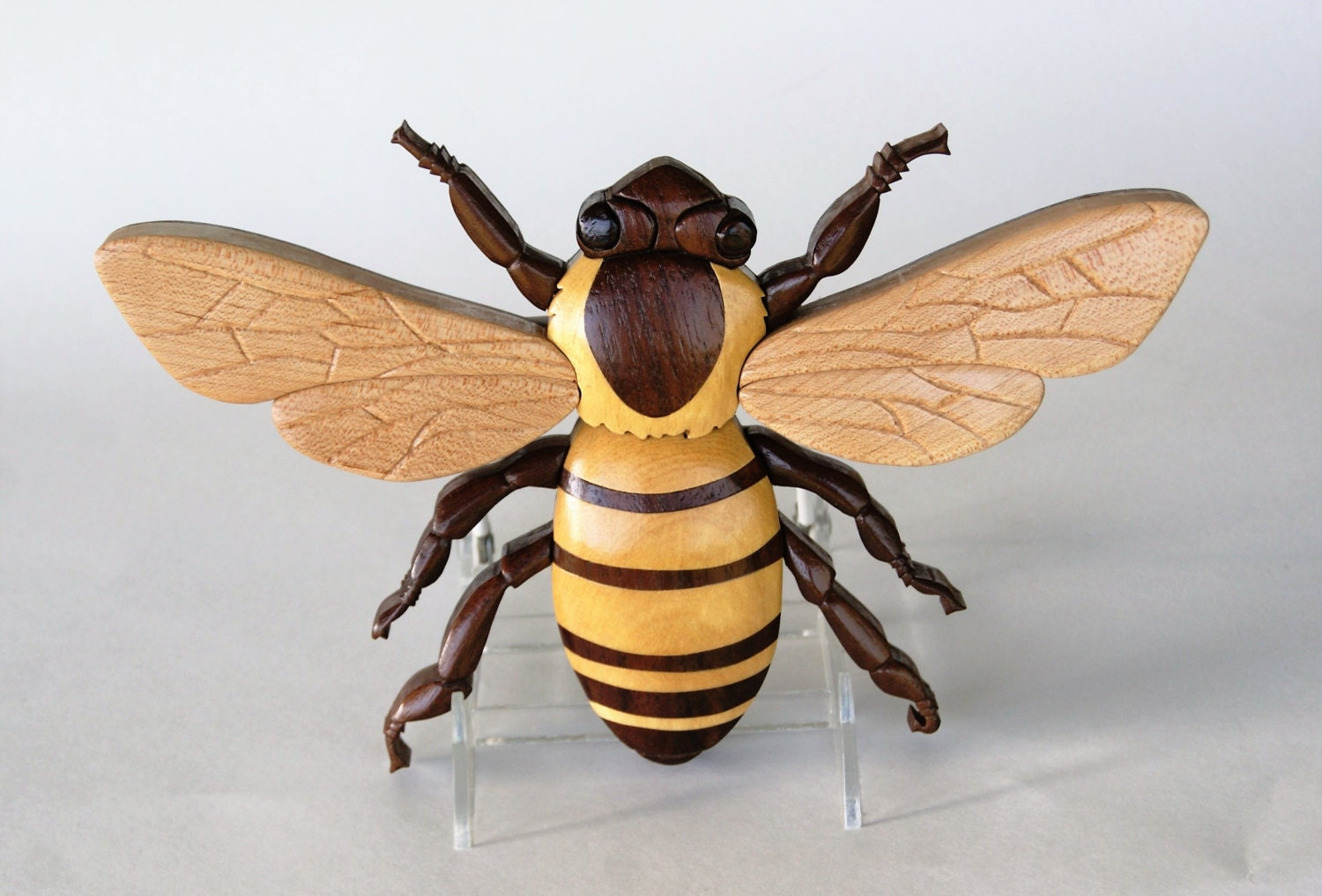 Honey Bee Intarsia Wall Hanging Insect Wood Carving Bumble