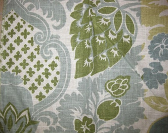 Vanguard Simone Blue Summer Linen Floral Designer Fabric Sample