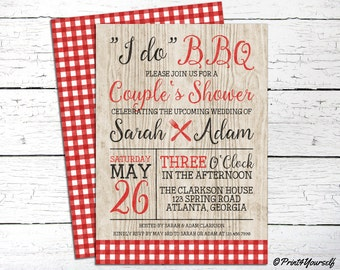 "Couples Shower Invite // Personalized Printable Rustic ""I do"" BBQ Couples Shower Invitation // I do BBQ Invitation"