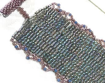 DARIA: Sea green peyote beaded bracelet