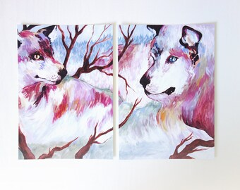 Tale of Two Wolves (print) - wildlife art print, wolf art