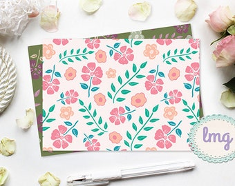 Vintage Note Cards - Blank Inside, A2 Size Notecards, Floral Vintage, Flowers and Leaves, Pink, Brown, Green, Cream, Digital Download