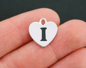 4 Letter I Heart Charms Antique Silver Tone Alphabet Charm - SC5321