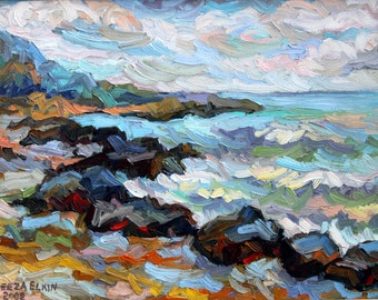 Original Oil Painting Impressionist Landscape The Shore  by Elizabeth Elkin.