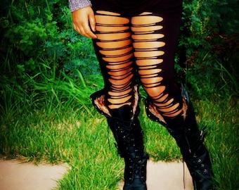 Ripped Leggings, Cut Leggings,  Black Slashed Leggings - Womens Leggings - Cotton Nylon