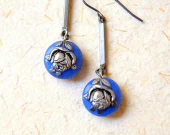 Dark Periwinkle Blue and Silver Vintage Glass Flower Earrings - Rose Earrings