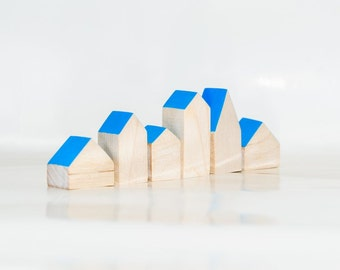 Miniature wooden houses. Set of 6 pieces. The small village for home decor