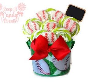 Baseball Lollipop Centerpiece, Baseball Candy Decor, Fathers Day Gift Idea, Baseball Centerpiece, Sports Theme, Baseball Theme, Fathers Day
