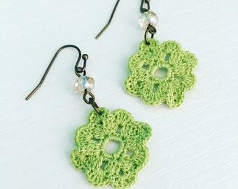 Neenah Crochet Earrings in Spring Green, Green Lace Doily Earrings, Lightweight Dangle Earrings, Boho Fashion, Gift for Mom, Gift Under 30
