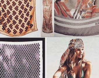 "Vintage Scarf Neck Head Wrap Long Square Black White Navy Blue Brown Beige Cream Tan Rust Gray Leopard Tiger Animal Geo Hippie Print 15"" 20"""