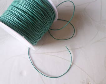 x 5 meters of thread waxed cotton macrame Green 1 mm cord