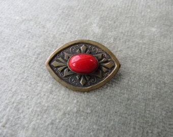 1930s / Art Deco / Brass and Red Marbled Glass Cabochon Brooch