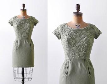 1960's Green Linen Dress. XS. 60 sage dress. soutache floral dress. mini. Sheath.